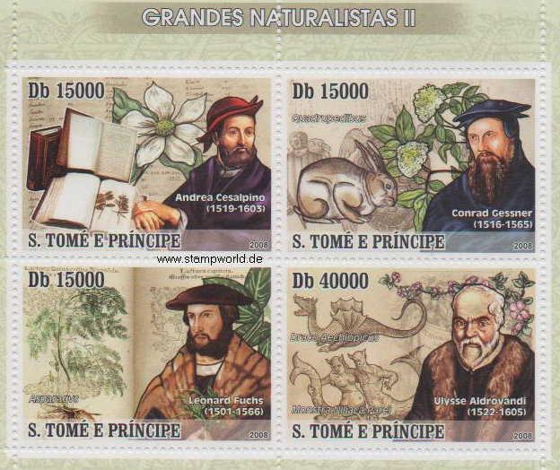 блок марок великие натуралисты